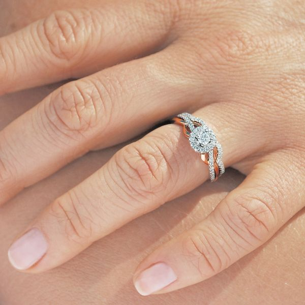 Bridal Sets - 14k White And Rose Gold Engagement Set - image #3