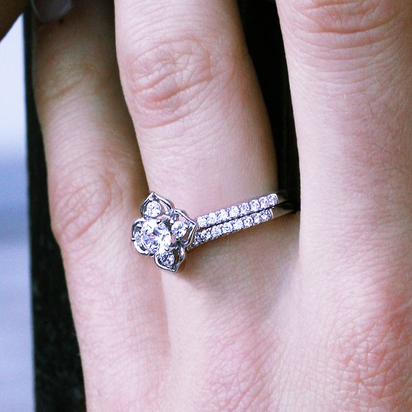 Bridal Sets - 14k White Gold Engagement Set - image 4