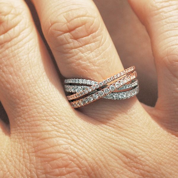 Wrap Rings - 14k White And Rose Gold Ring - image #4