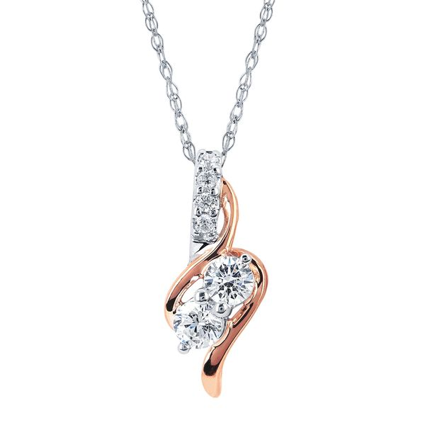 14K White & Rose Gold Pendant by 2Us Diamond Jewelry