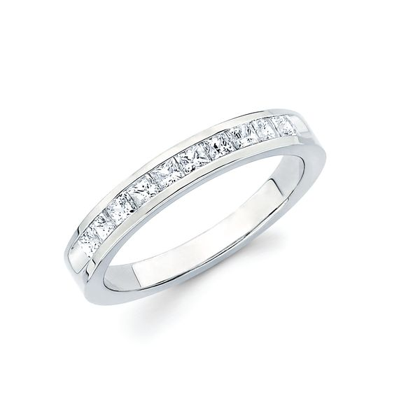 14k White Gold Anniversary Band - 1 Ctw. Channel Set Princess Cut Diamond Anniversary Band in 14K Gold