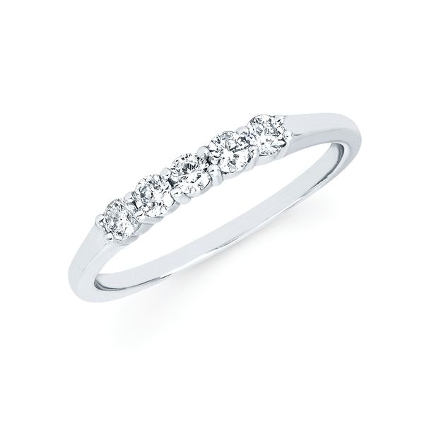 14k White Gold Anniversary Band - 1/4 Ctw. 5 Stone Shared Prong Diamond Anniversary Band