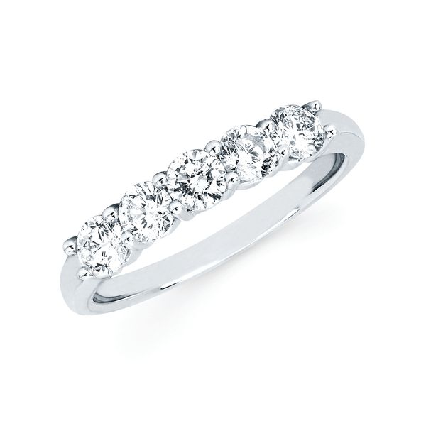 14k White Gold Anniversary Band - 3/4 Ctw. 5 Stone Shared Prong Diamond Anniversary Band
