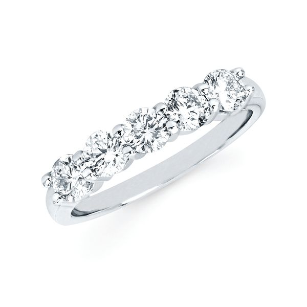 14k White Gold Anniversary Band - 1 Ctw. 5 Stone Shared Prong Diamond Anniversary Band