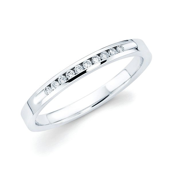 14k White Gold Anniversary Band - 1/10 Ctw. Channel Set 10 Stone Diamond Anniversary Band