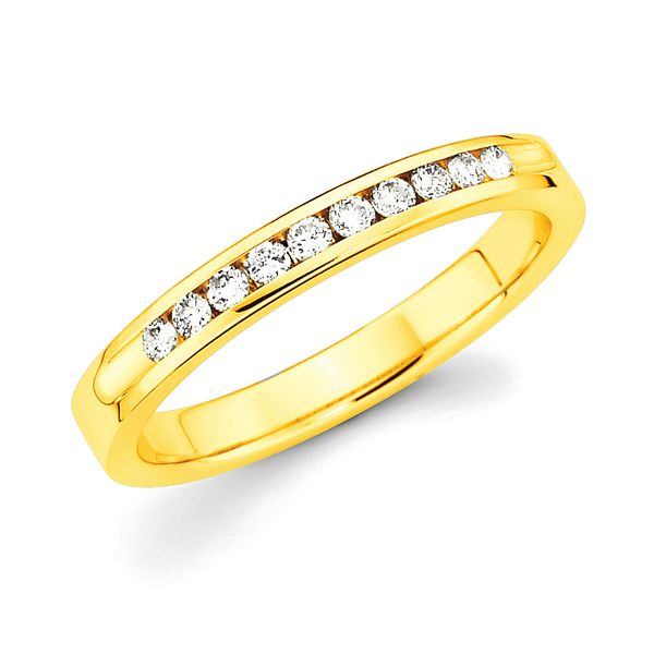 14k Yellow Gold Anniversary Band - 1/5 Ctw. Channel Set 10 Stone Diamond Anniversary Band