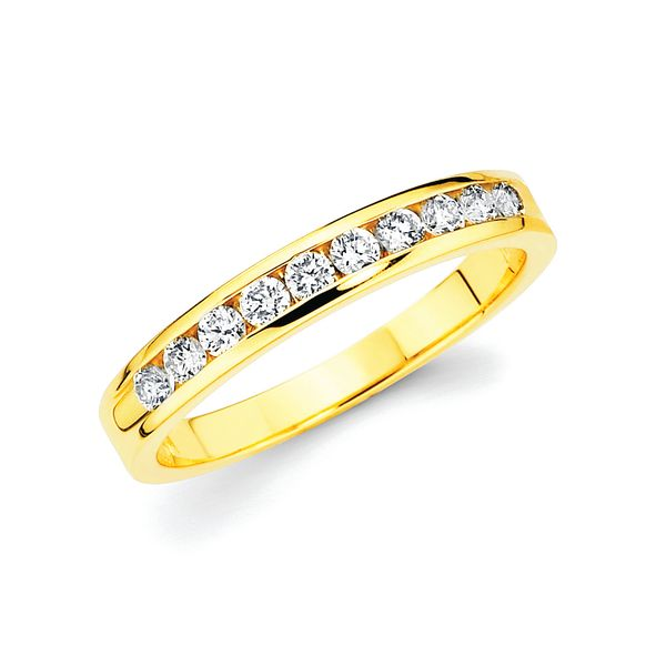 14k Yellow Gold Anniversary Band - 1/3 Ctw. Channel Set 10 Stone Diamond Anniversary Band