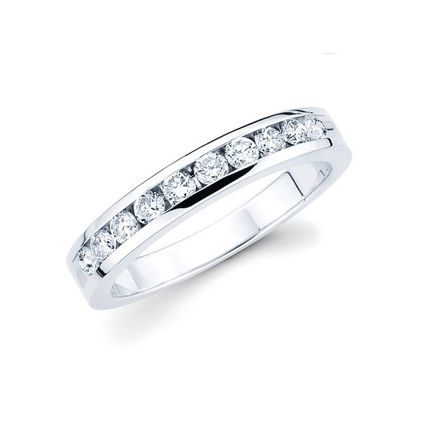 14k White Gold Anniversary Band - 1/2 Ctw. Channel Set 10 Stone Diamond Anniversary Band