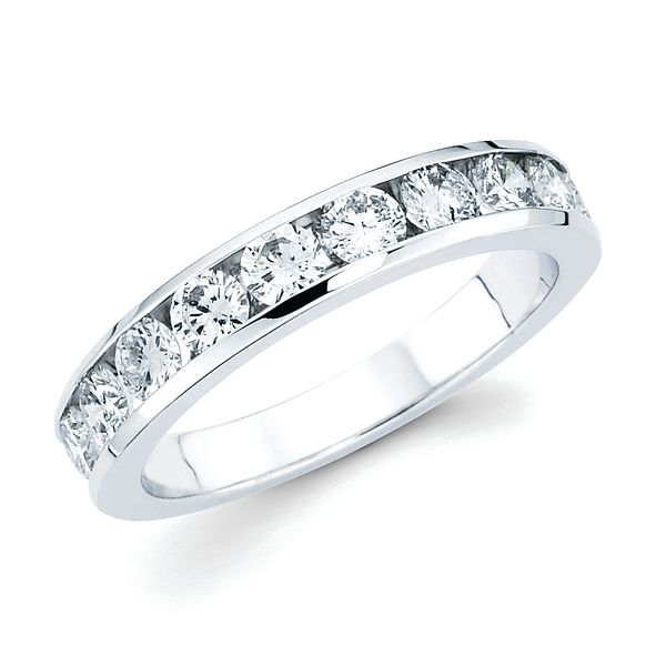 14k White Gold Anniversary Band - 1 Ctw. Channel Set 10 Stone Diamond Anniversary Band