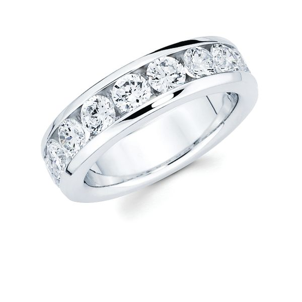 14k White Gold Anniversary Band - 2 Ctw. Channel Set 10 Stone Diamond Anniversary Band in 14K Gold