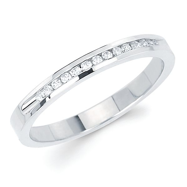 14k White Gold Anniversary Band - 1/10 Ctw. Channel Set 14 Stone Diamond Anniversary Band in 14K Gold