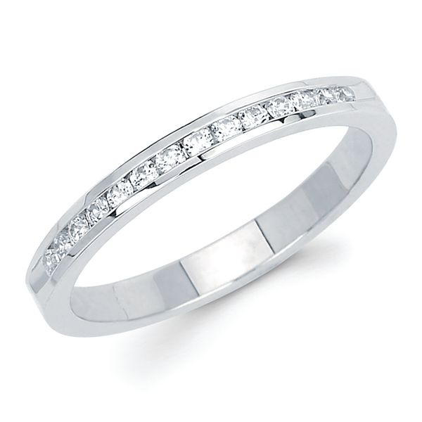 14k White Gold Anniversary Band - 1/5 Ctw. Channel Set 14 Stone Diamond Anniversary Band in 14K Gold