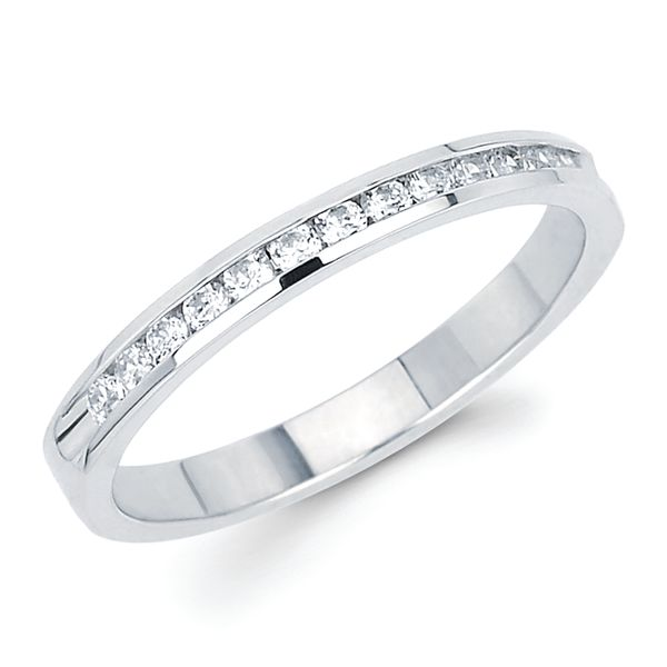 14k White Gold Anniversary Band - 1/4 Ctw. Channel Set 14 Stone Diamond Anniversary Band in 14K Gold