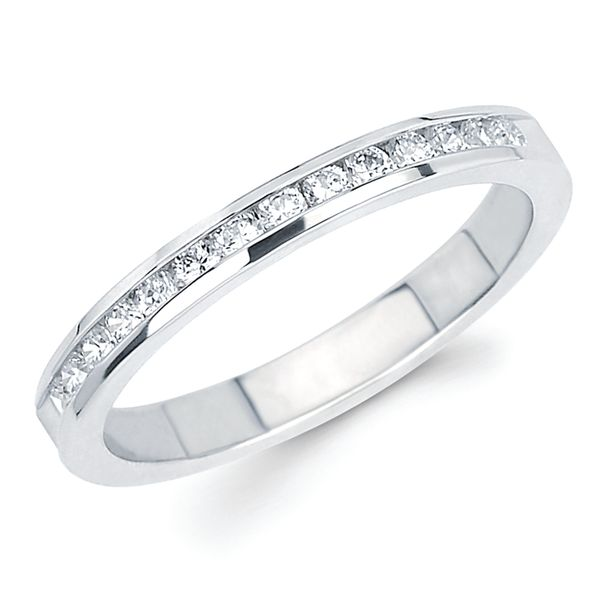 14k White Gold Anniversary Band - 1/3 Ctw. Channel Set 14 Stone Diamond Anniversary Band in 14K Gold