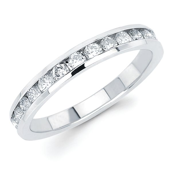14k White Gold Anniversary Band - 1/2 Ctw. Channel Set 14 Stone Diamond Anniversary Band in 14K Gold