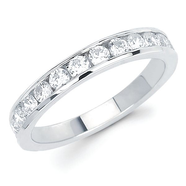 14k White Gold Anniversary Band - 3/4 Ctw. Channel Set 14 Stone Diamond Anniversary Band in 14K Gold
