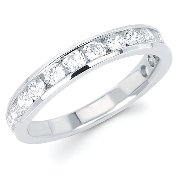 14k White Gold Anniversary Band - 1 Ctw. Channel Set 14 Stone Diamond Anniversary Band in 14K Gold