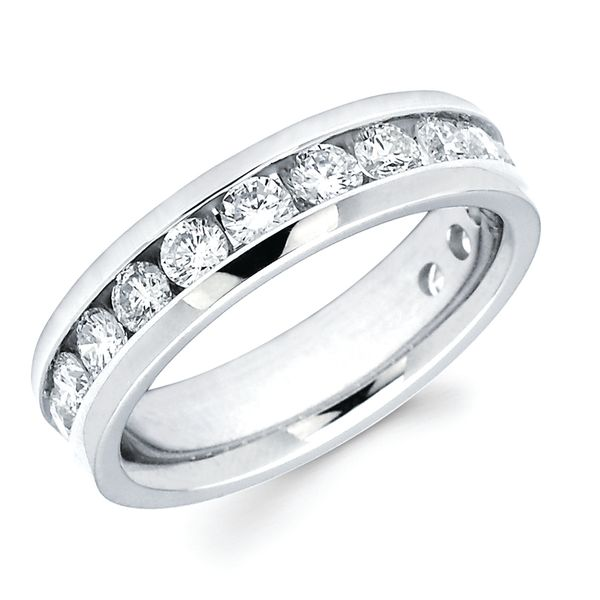 14k White Gold Anniversary Band - 1-1/4 Ctw. Channel Set 14 Stone Diamond Anniversary Band in 14K Gold