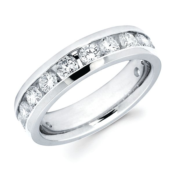 14k White Gold Anniversary Band - 1-1/2 Ctw. Channel Set 14 Stone Diamond Anniversary Band in 14K Gold