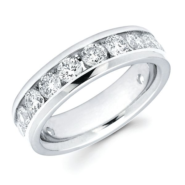 14k White Gold Anniversary Band - 2 Ctw. Channel Set 14 Stone Diamond Anniversary Band in 14K Gold