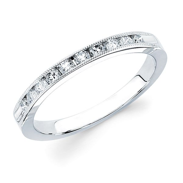 14k White Gold Anniversary Band - 1/10 Ctw. Channel Set 10 Stone Diamond Milgrain Anniversary Band in 14K Gold