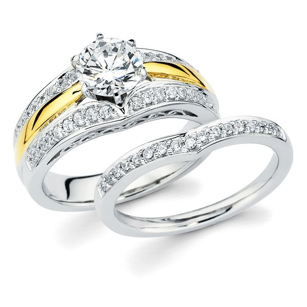14k White & Yellow Gold Bridal Set - Classic Bridal: 1/4 Ctw. Diamond Semi Mount shown with 1 Ct. Round Center Diamond in 14K Two Tone Gold 1/8 Ctw. Diamond Contour Wedding Band in 14K Gold Items also available to purchase separately