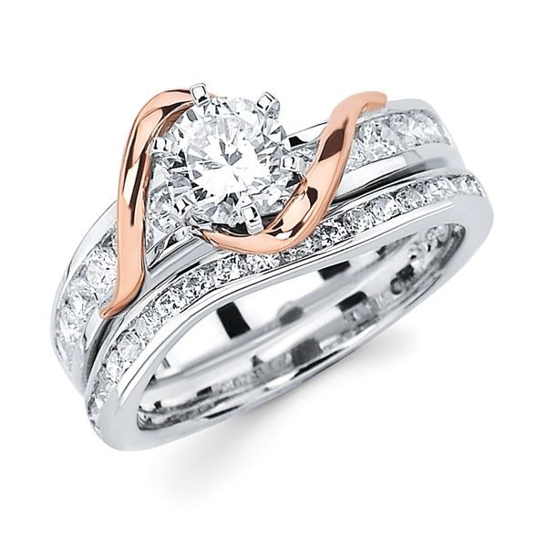 14k White And Rose Gold Engagement Set by Ostbye
