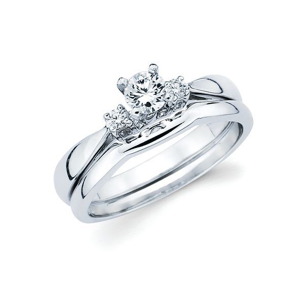 14k White Gold Engagement Set - 3 Stone Bridal: .06 Ctw. Diamond Semi Mount shown with 1/4 Ct. Round Center Diamond in 14K Gold ContourWedding Band in 14K Gold Items also available to purchase separately