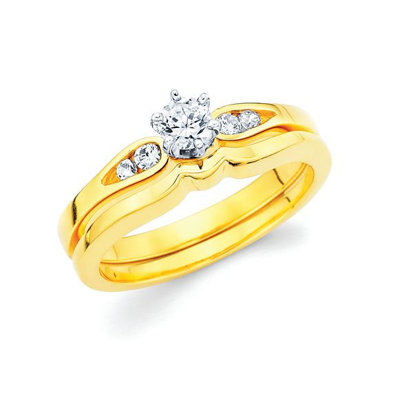 14k Yellow Gold Engagement Set - Classic Bridal: 1/10 Ctw. Diamond Semi Mount shown with 1/5 Ct. Round Center Diamond in 14K Gold Shadow Wedding Band in 14K Gold Items also available to purchase separately