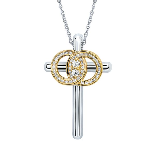 14k White And Yellow Gold Pendant by Diamond Marriage Symbol
