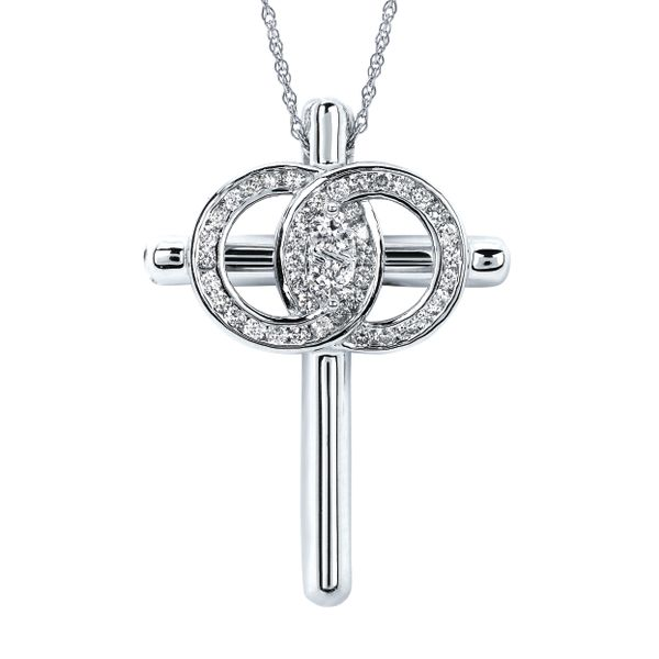 14K White Gold Pendant by Christian Marriage Symbol