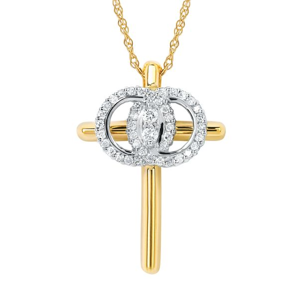 14K Yellow & White Gold Pendant by Christian Marriage Symbol