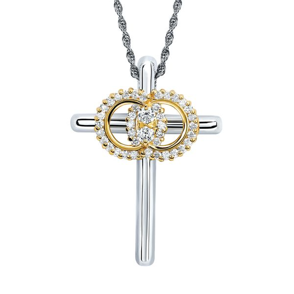 14k White & Yellow Gold Diamond Cross by Diamond Marriage Symbol