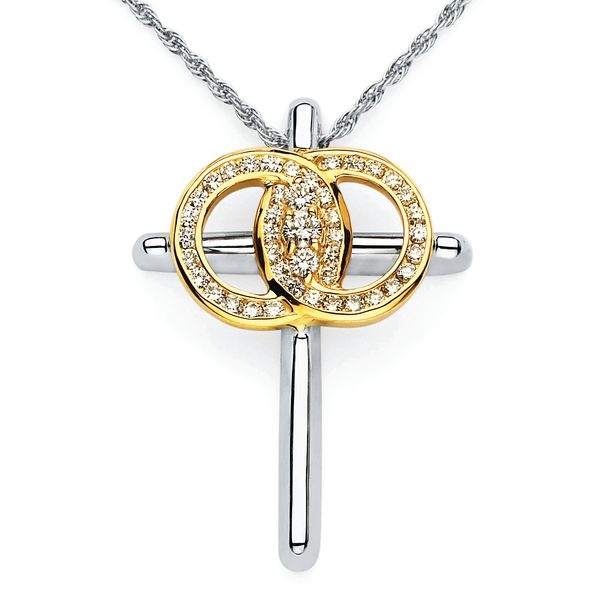 14k White Gold Diamond Cross by Diamond Marriage Symbol