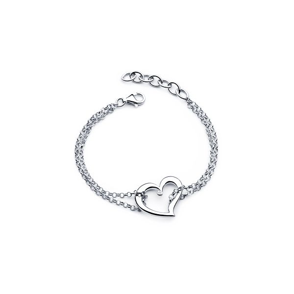 Sterling Silver Bracelet - Diva Diamonds Double Chain Heart Bracelet in Sterling Silver with .01 Ct. Diamond with Rollo Chain adjustable between 7.5