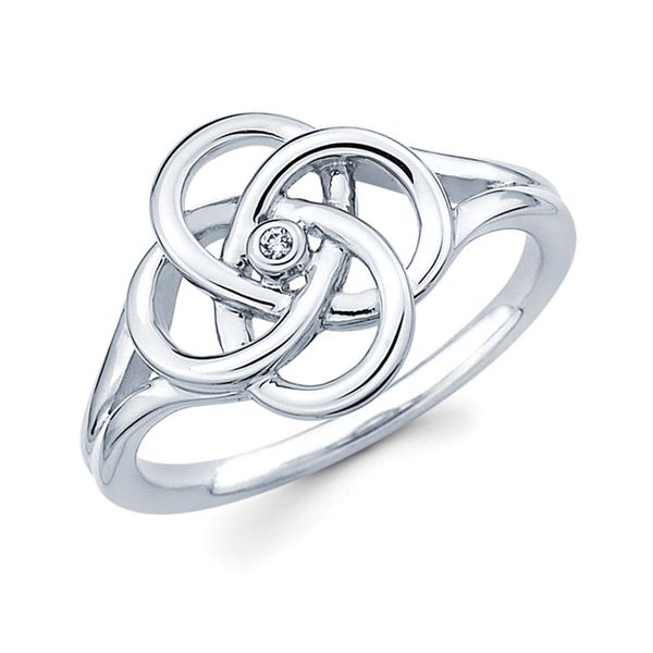 Sterling Silver Ring - Diva Diamonds Linked Circle Ring in Sterling Silver with .01 Ct. Diamond
