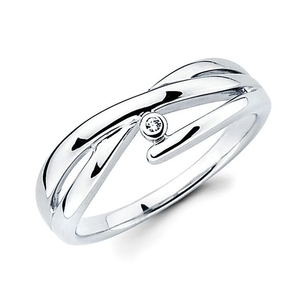 Sterling Silver Ring - Diva Diamonds® Lean Crossover Ring in Sterling Silver with .01 Ct. Diamond