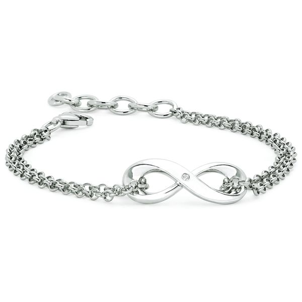 Sterling Silver Bracelet - Diva Diamonds® Infinity Bracelet in Sterling Silver with .01 Ct. Diamond with Rollo Chain adjustable between 7.5