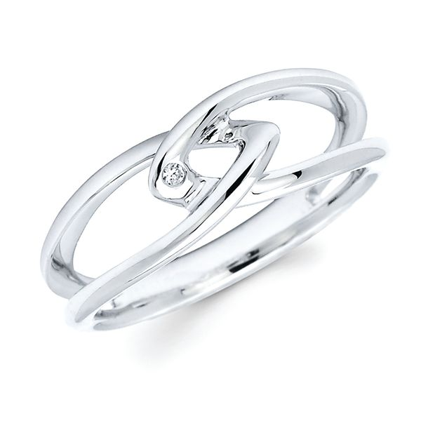 Sterling Silver Ring - Diva Diamonds Intertwined Ring in Sterling Silver with .01 Ct. Diamond