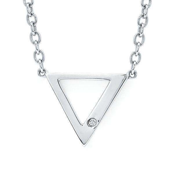 Sterling Silver Diamond Pendant - Diva Diamonds® Trident Neckalce in Sterling Silver with .01 Ct. Diamond with Rollo Chain adjustable between 18