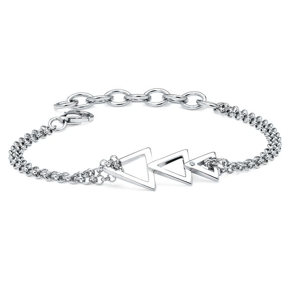 Sterling Silver Diamond Bracelet - Diva Diamonds® Trident Bracelet in Sterling Silver with .01 Ct. Diamond with Rollo Chain adjustable between 7.5