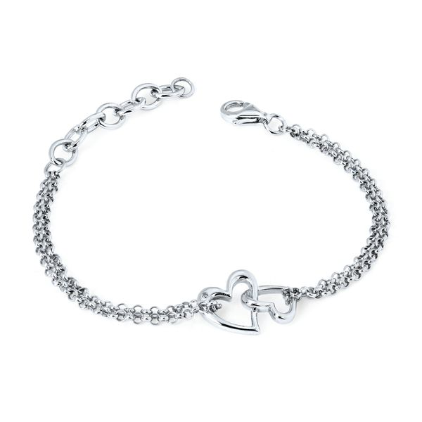 Sterling Silver Bracelet - Diva Diamonds® Double Heart Bracelet in Sterling Silver with .01 Ct. Diamond with Rollo Chain adjustable between 7.5