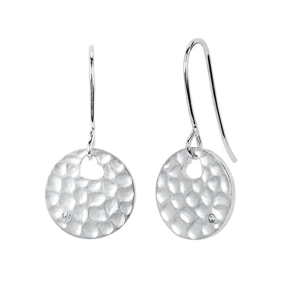 Diva Diamonds® Round Hammered Drop Earrings in Sterling Silver with .01 Ct. Diamond