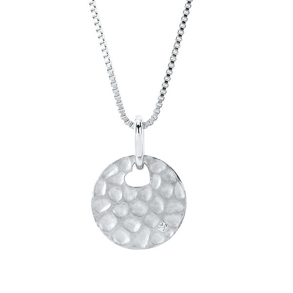 Sterling Silver Pendant - Diva Diamonds® Round Hammered Pendant in Sterling Silver with .01 Ct. Diamond with 18