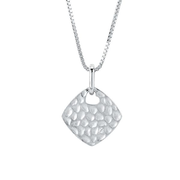 Sterling Silver Pendant - Diva Diamonds® Diamond Shape Hammered Pendant in Sterling Silver with .01 Ct. Diamond with 18