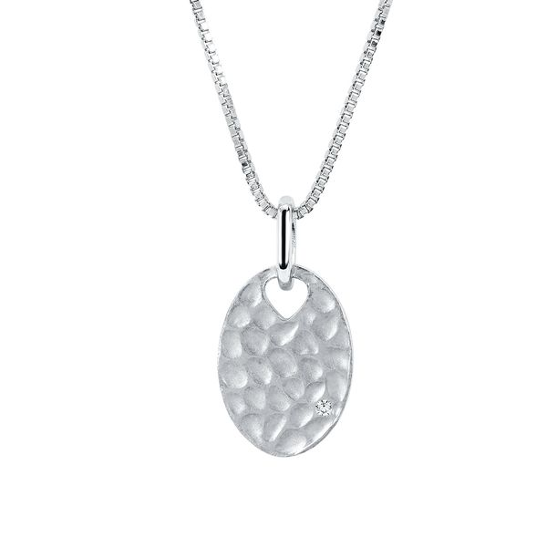 Sterling Silver Pendant - Diva Diamonds® Oval Hammered Pendant in Sterling Silver with .01 Ct. Diamond with 18