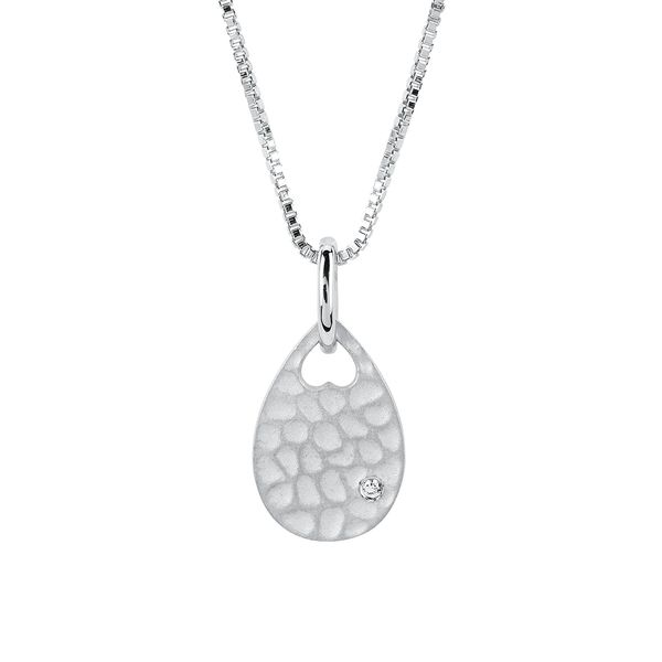 Sterling Silver Pendant - Diva Diamonds® Pear Shape Hammered Pendant in Sterling Silver with .01 Ct. Diamond with 18
