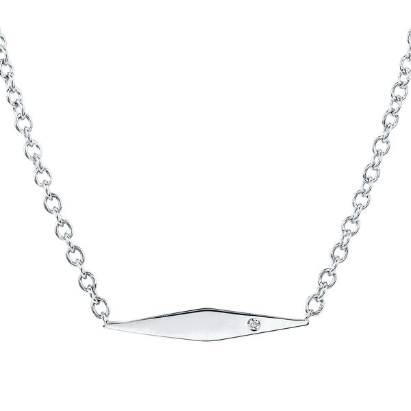 Sterling Silver Pendant - Diva Diamonds® Geometric Necklace in Sterling Silver with .01 Ct. Diamond