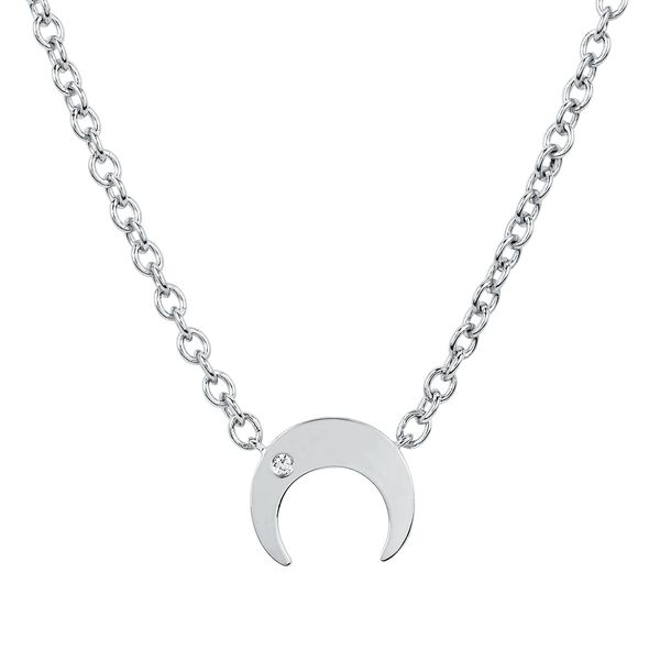 Sterling Silver Pendant - Diva Diamonds® Cresent Necklace in Sterling Silver with .01 Ct. Diamond