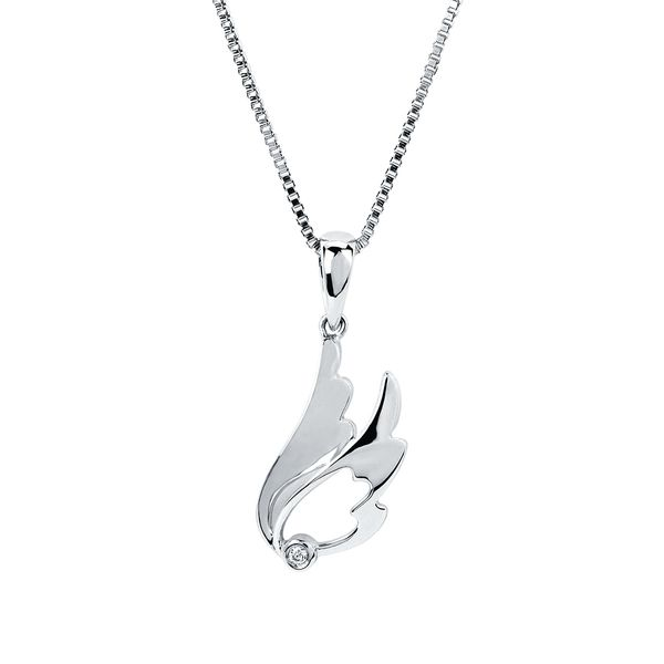 Sterling Silver Pendant - Diva Diamonds® Wing Pendant in Sterling Silver with .01 Ct. Diamond with 18